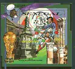 Senegal 2000 Korea/Japan World Cup opt in silver on 1990 Football perf m/sheet (Statue of Columbus) unmounted mint