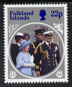 Falkland Islands 1985 Life & Times of HM Queen Mother 22p with wmk inverted (gutter pair price x2), stamps on royalty, stamps on queen mother