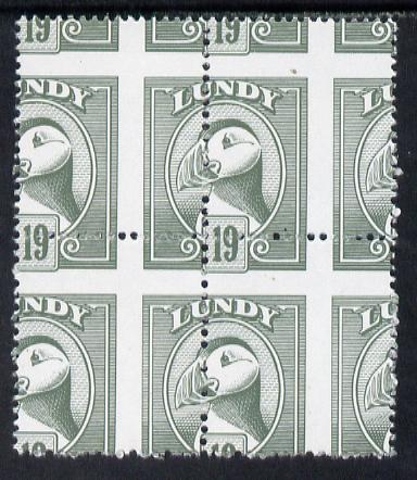 Lundy 1982 Puffin def 19p grey-green with superb misplacement of horiz and vert perfs unmounted mint block of 4