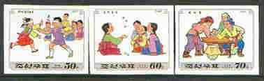 North Korea 1997 Children's Games (2nd series) imperf set of 3 values (30, 60 & 70ch)* (from limited printing)