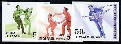 North Korea 1997 Figure Skating Championships imperf set of 3 unmounted mint, as SG N3654-56* (from limited printing)