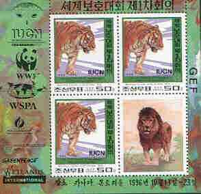 North Korea 1996 WWF World Conservation Union perf m/sheet containing 3 x 50ch (Tiger) plus label unmounted mint, as SG N3630