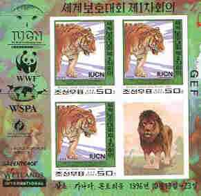 North Korea 1996 WWF World Conservation Union imperf m/sheet containing 3 x 50ch (Tiger) plus label as SG N3630 unmounted mint