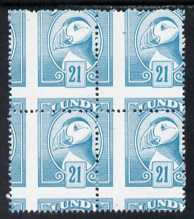 Lundy 1982 Puffin def 21p pale blue with superb misplacement of horiz and vert perfs unmounted mint block of 4