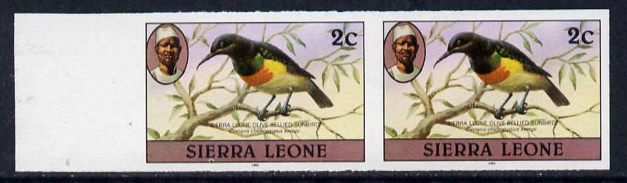Sierra Leone 1983 Sunbird 2c (with 1983 imprint) unmounted mint IMPERF pair (as SG 761)