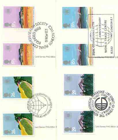 Great Britain 1983 Commonwealth Day (Geographical Regions) set of 4 PHQ cards with appropriate gutter pairs each very fine used with first day cancels