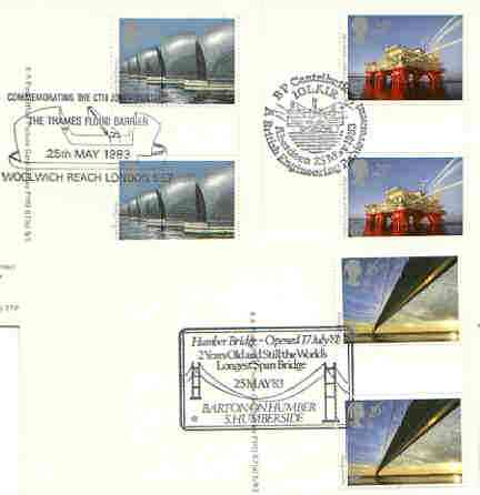 Great Britain 1983 Europa - Engineering Achievements set of 3 PHQ cards with appropriate gutter pairs each very fine used with first day cancels