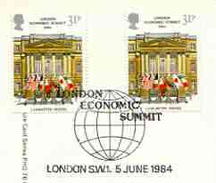 Great Britain 1984 London Economic Summit PHQ card with appropriate gutter pairs each very fine used with first day cancels