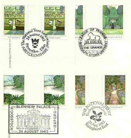Great Britain 1983 British Gardens set of 4 PHQ cards with appropriate gutter pairs each very fine used with first day cancels