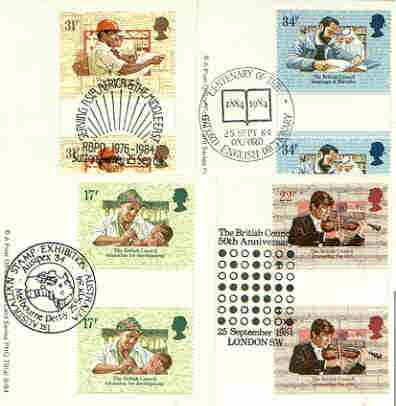 Great Britain 1984 British Council 50th Anniversary set of 4 PHQ cards with appropriate gutter pairs each very fine used with first day cancels