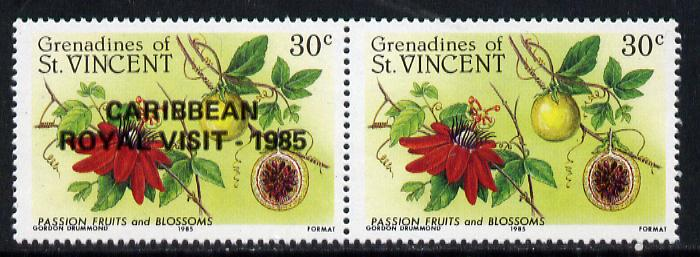 St Vincent - Grenadines 1985 Passion Fruit 30c (as SG 398) with Royal Visit opt, horiz pair, one stamp with opt omitted (unlisted by SG) unmounted mint