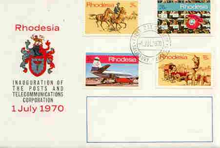 Rhodesia 1970 Inauguration of Posts & Telecommunications Corp set of 4 on illustrated cover with first day cancel, SG 453-56