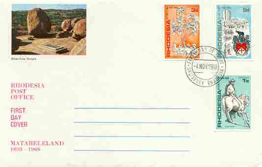 Rhodesia 1968 Anniversary of Matabeleland set of 3 on illustrated cover with first day cancel, SG 427-29