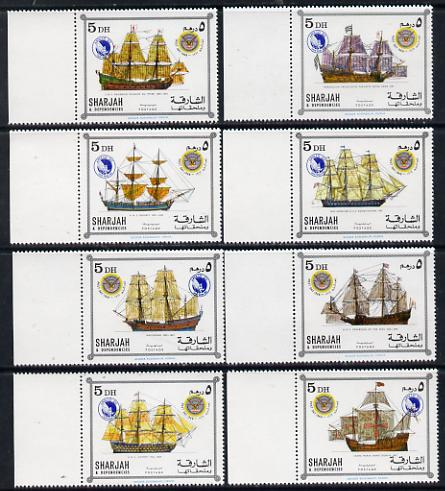 Sharjah 1969 Ships - Apollo 12 opts on Famous Ships issue, set of 8 unmounted mint, one with opt omitted & inverted on gummed side