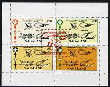 Nagaland 2000 Euro-Scout opt in red on 75th Anniversary of Scouting perf sheetlet of 4 values unmounted mint