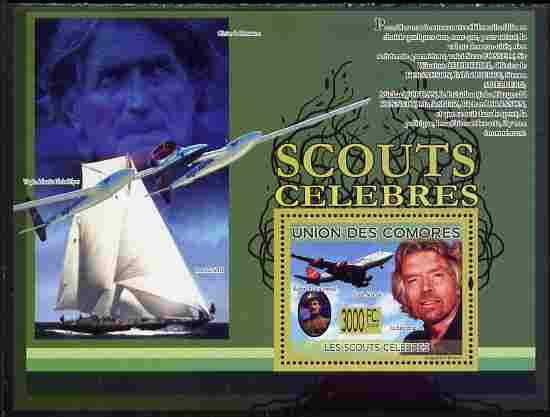 Comoro Islands 2009 Famous Scouts perf souvenir sheet unmounted mint, Michel BL 507