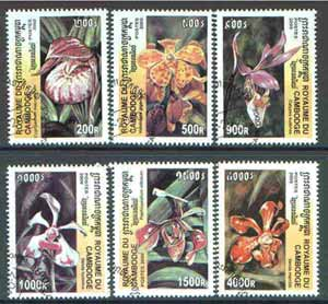 Cambodia 2000 Orchids complete perf set of 6 values cto used