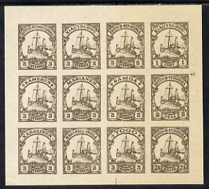 German Cols 1900 Yacht imperf forgery pane of 12 for various Colonies printed se-tenant in brown on gummed paper (3pfg, 1c, 2p & 2.5h)