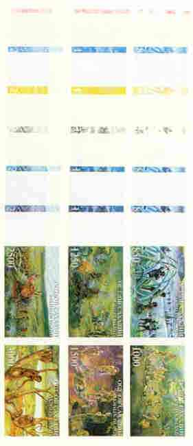 Sakhalin Isle 1997 Prehistoric Man sheetlet containing complete set of 6 values, the set of 7 imperf progressive proofs comprising the 4 individual colours plus 2, 3 & all 4-colour composite unmounted mint