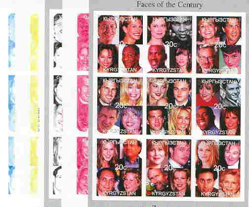 Kyrgyzstan 1999 Faces of the 20th Century Culture sheetlet containing complete set of 9 values (Sinatra, Bill Gates, M Ali, etc) the set of 5 imperf progressive proofs comprising the 4 individual colours plus all 4-colour composite