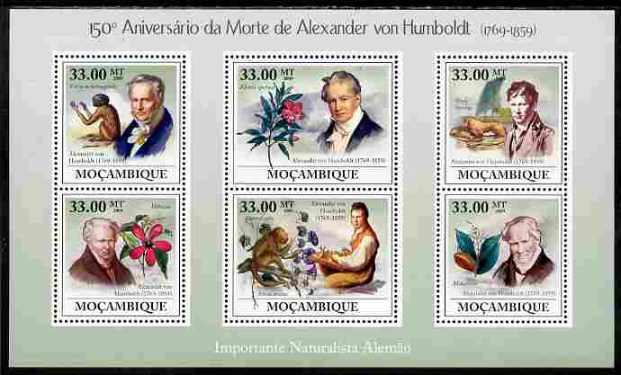 Mozambique 2009 150th Death Anniversary of Alexander von Humboldt perf sheetlet containing 6 values unmounted mint
