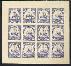 German Cols 1900 Yacht imperf forgery pane of 12 for various Colonies printed se-tenant in blue on gummed paper (20pfg, 10c, 10p & 15h)