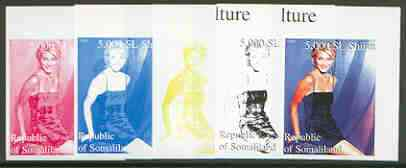 Somaliland 1999 Cameron Diaz (from 20th Century Culture sheetlet) the set of 5 imperf progressive proofs comprising the 4 individual colours plus all 4-colour composite
