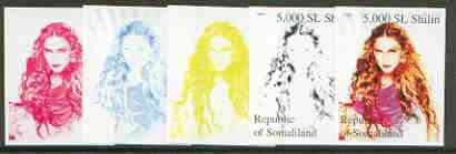 Somaliland 1999 Madonna (from 20th Century Culture sheetlet) the set of 5 imperf progressive proofs comprising the 4 individual colours plus all 4-colour composite , stamps on personalities, stamps on entertainments, stamps on films, stamps on cinema, stamps on music, stamps on pop