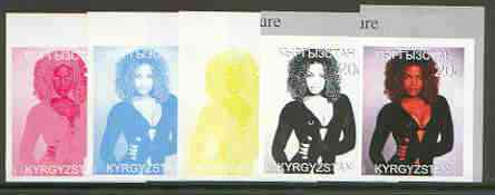 Kyrgyzstan 1999 Janet Jackson from 20th Century Culture (Famous People) the set of 5 imperf progressive proofs comprising the 4 individual colours plus all 4-colour composite