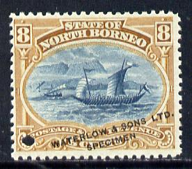 North Borneo 1894 Malay Dhow Printers sample of 8c (as SG 74) in blue & brown opt'd 'Waterlow & Sons Specimen' with small security punch hole unmounted mint