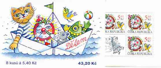 Booklet - Czech Republic 2000 For Children 43k20 booklet (containing 8 x 5k40 stamps showing Clock & Bird plus 2 labels showing Toys)