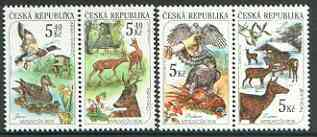 Czech Republic 2000 Hunting the 4 Seasons set of 4 (2 se-tenant pairs) unmounted mint, stamps on hunting, stamps on birds, stamps on birds of prey, stamps on deer, stamps on game, stamps on ducks