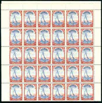 Bermuda 1938-52 KG6 Yacht 2d ultramarine & scarlet in complete  sheet of 60 unmounted mint, with comb perf (SG 112a)