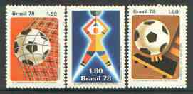Brazil 1978 World Cup Football Championships set of 3 unmounted mint, SG 1704-06