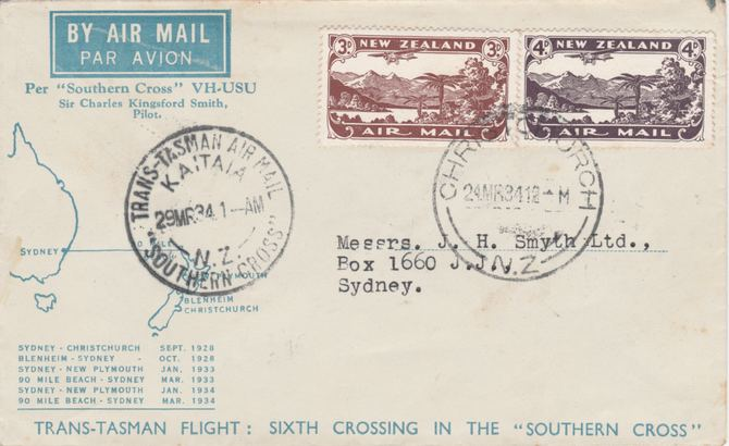 New Zealand 1934 Southern Cross 6th Flight cover NZ to Sydney with Kaitaia postmark No.1