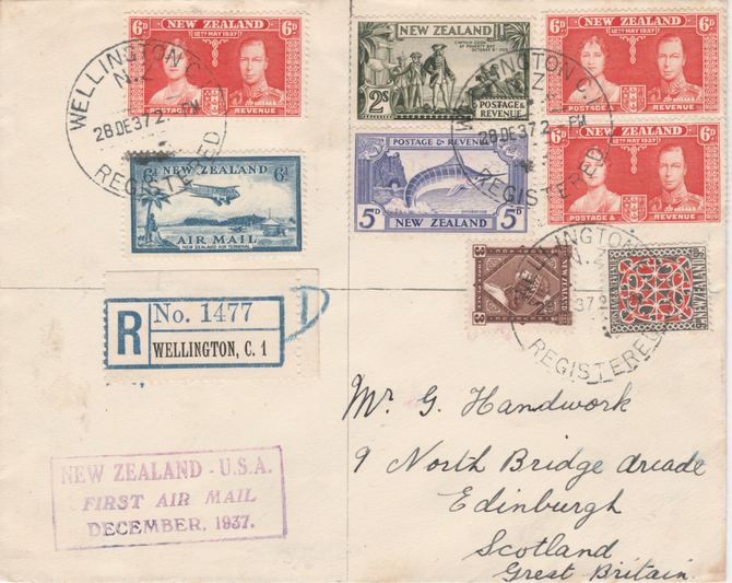 New Zealand 1937 overpaid registered cover Wellington to Scotland with 5s5d paid but 4s6d plus 4d registration was the correct fee. Purple cachet rarely seen on registered covers