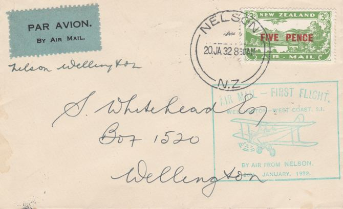 New Zealand 1932 First flight cover Nelson to Wellington with special cachet in green. Only 967 items carried on this flight.