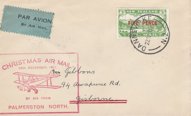 New Zealand 1931 Christmas Air Mail Flight cover Palmerston North to Gisbourne with special cachet in red. Only 456 items carried on this flight.