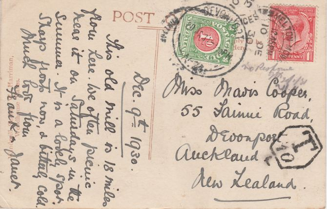 New Zealand 1930 picture postcard (Windmill) from Melton Mowbray to Auckland bearing KG5 1d with Hexagonal T10 and 1d postage due, mainly fine condition