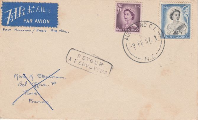 New Zealand 1957 Airmail cover to France marked RETOUR AL'ENVOYEUR