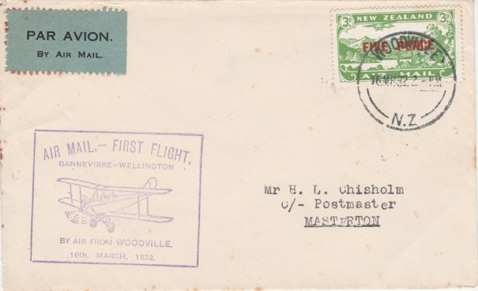New Zealand 1932 First flight cover  Woodville to Masterton with special cachet in violet. Only 217 items carried on this flight.