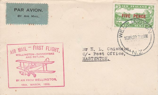 New Zealand 1932 First flight cover  Wellington to Masterton with special cachet in red. Only 409 items carried on this flight.