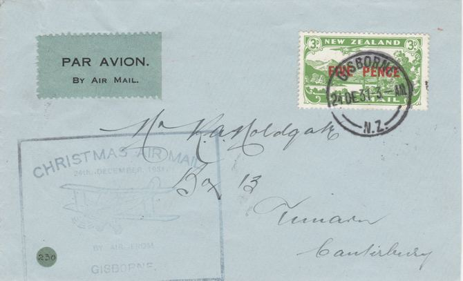 New Zealand 1931 Christmas Airmail  flight cover Gisborne to Timaru with special cachet in blue - Only 132 items were carried on this flight