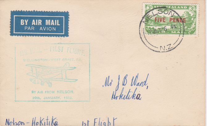 New Zealand 1932 First flight cover Nelson to Hokita with special cachet in green. Only 472 items carried on this flight.