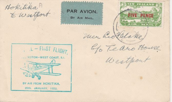 New Zealand 1932 First Flight cover Hokitika to Westport with special cachet in green - Only 502 items were carried on this flight