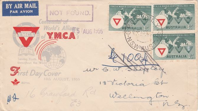 Australia 1955 YMCA x 3 on first day airmail cover to New Zealand with boxed NOT FOUND in violet