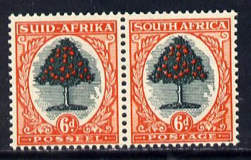 South Africa 1951 Orange Tree 6d se-tenant bi-lingual pair unmounted mint, SG 119a