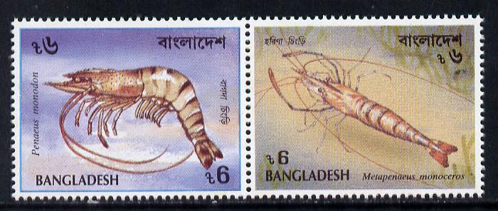 Bangladesh 1991 Shrimps set of 2 unmounted mint, SG 437a