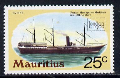 Mauritius 1980 Mail Ship 'London 1980' 25c with wmk sideways inverted unmounted mint (SG 592Ei)