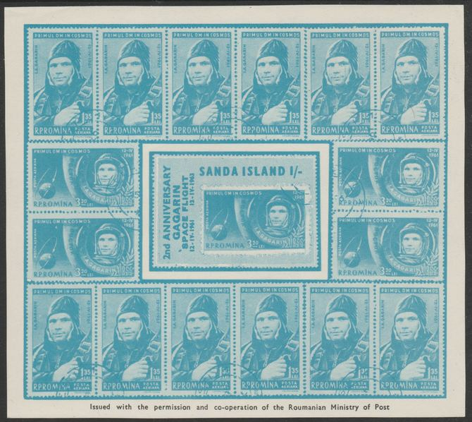 Sanda Island 1963 2nd Anniversary of Gagarin Flight 1s blue imperf m/sheet unmounted mint